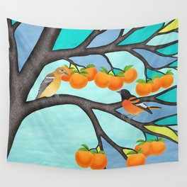 B. orioles in the stained glass tree Wall Tapestry