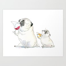 The Sommeliette - Wine and Pugs Art Art Print