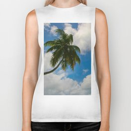 Tropical Palm with Blue Skies Biker Tank
