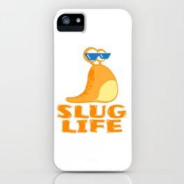 "A Cool Thug Life Tee For Gangster ""Snail Slug Life"" T-shirt Design Eyeglasses Stick Animals Shell iPhone Case"