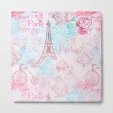 I love Paris- Vintage Shabby Chic in pink - Eiffeltower France Flowers Floral on #Society6 Metal Print