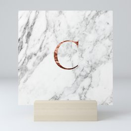 Monogram rose gold marble C Mini Art Print