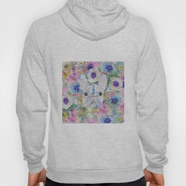 Abstract French bulldog floral watercolor paint Hoody
