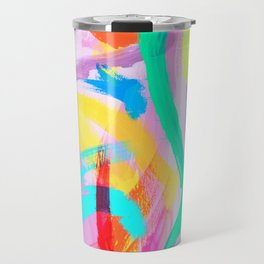DANCE ALL NIGHT Colorful Modern Art Bright Color Abstract Painting Contemporary Travel Mug