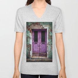 Vintage Light-Purple European Doorway Unisex V-Neck