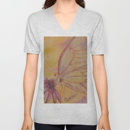Little mirror butterfly | Petit Miroir papillon Unisex V-Neck