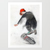 skateboard Art Prints featuring skateboard by Crooked Walker