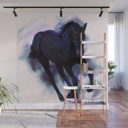 A Friesian foal's morning joy Wall Mural