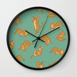 Orange Tabby Tiling Pattern Wall Clock