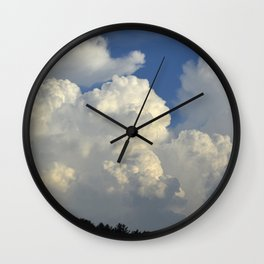 Billowing White Clouds Brilliant Blue Sky Wall Clock