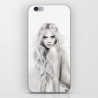 cara delevingne iPhone & iPod Skins featuring Cara Delevingne by Kelly North