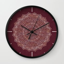 Rose Gold Marble Mandala Burgundy Textured Wall Clock