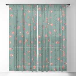 Seamless pattern with red berries and bird tracks on a dark turquoise background. New Year theme. Sheer Curtain