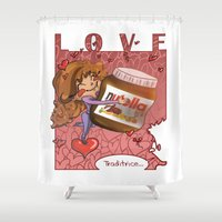 nutella Shower Curtains featuring True love by Clizia Brozzesi