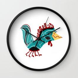 Rooster illustration, nursery decor, art for kids, animal decor,look for other animals in our shop Wall Clock
