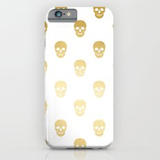 Gold Skull on white iPhone 6 Slim Case