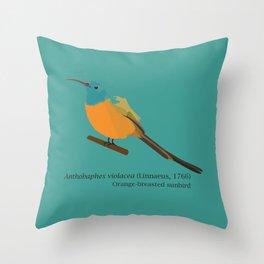 Orange-breasted sunbird - designed for bird lovers Throw Pillow