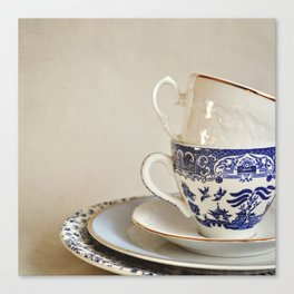 Stacked blue and white china. Canvas Print