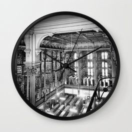 A Book Lover's Dream - Cast-iron Book Alcoves Cincinnati Library black and white photography Wall Clock