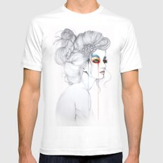 The Girl // Fashion Illustration MEDIUM Mens Fitted Tee White