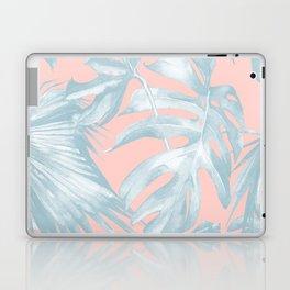 Island Love Pale Teal Blue on Millennial Pink Laptop & iPad Skin