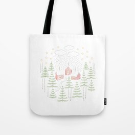 Snowy Winter Forest Village Drawing Tote Bag