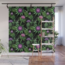 Pink Thistle Pattern on Black Wall Mural
