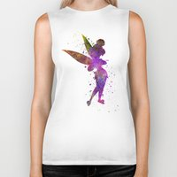 tinker bell Biker Tanks featuring Tinker bell in watercolor by Paulrommer