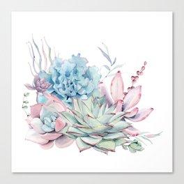 Pretty Pastel Succulents Canvas Print