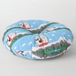 Gondola corgis telluride ski slopes custom dog Floor Pillow