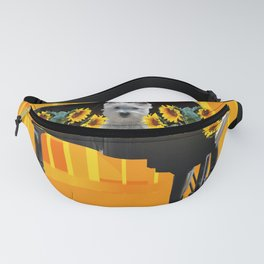 Piano with sunflowers and white Fox Terrier Fanny Pack