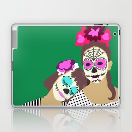 Sugar Skull Halloween Girls Green Laptop & iPad Skin