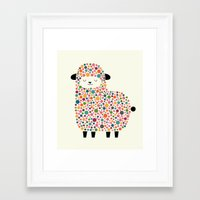 bubble Framed Art Prints featuring Bubble Sheep by Andy Westface