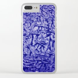 Blue Waves and Ripples Textured Wavelet Paint Art Clear iPhone Case