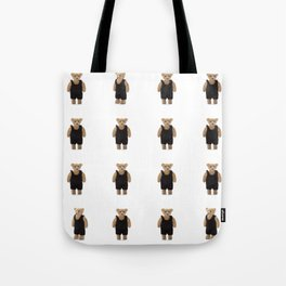 Teddy Bear with a Black Jumpsuit Tote Bag