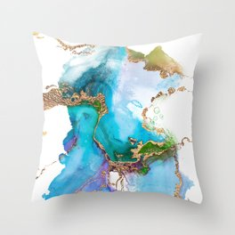 Abstract Marble Mermaid Gemstone With Gold Glitter Throw Pillow