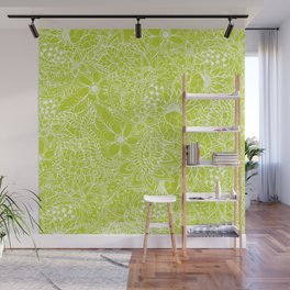 Modern white hand drawn floral lace illustration on lime green punch Wall Mural