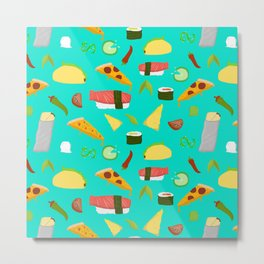 Feed Me- food pattern Metal Print