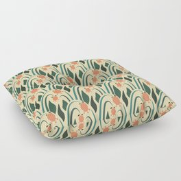 a lot of flowers for art deco green Floor Pillow