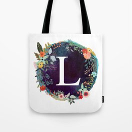 Personalized Monogram Initial Letter L Floral Wreath Artwork Tote Bag