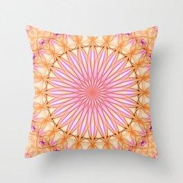 Mandala in pink, yellow and orange tones Throw Pillow
