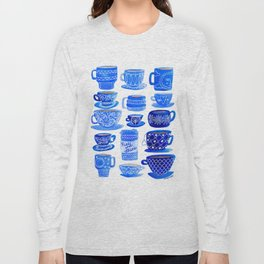 Coffee Mugs and Tea Cups - A study in blues Long Sleeve T-shirt