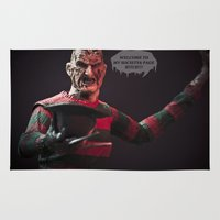 freddy krueger Area & Throw Rugs featuring Freddy Welcomes You 2 My Society6 Page... by TJAguilar Photos