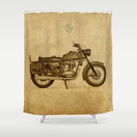 ducati Shower Curtains featuring Ducati motorcycle Meccanica by Larsson Stevensem