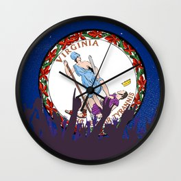 Virginia State Flag with Audience Wall Clock