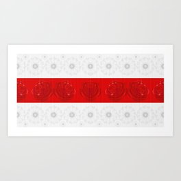White-red-white daisies and roses  Art Print