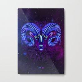 Zodiac neon signs — Aries Metal Print