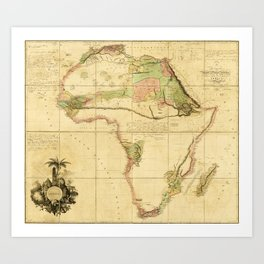 Map of Africa by Aaron Arrowsmith (1802) Art Print