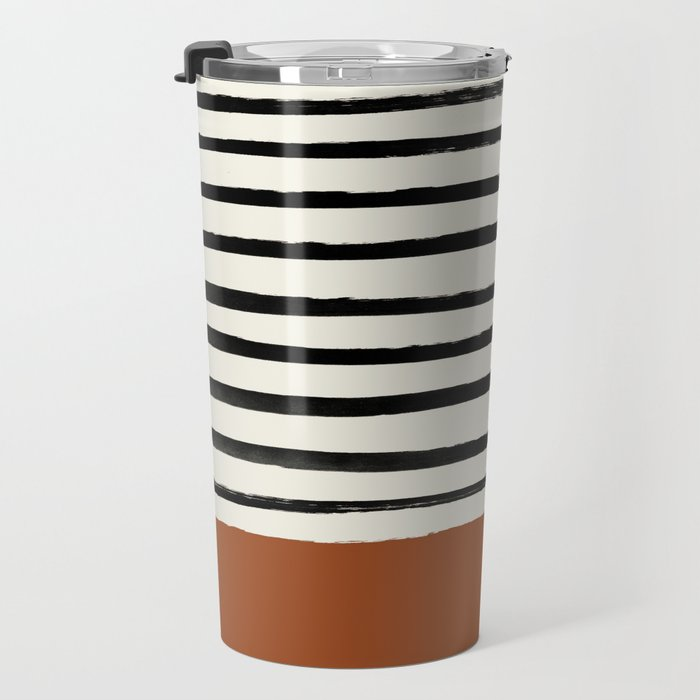 Burnt Orange x Stripes Travel Mug