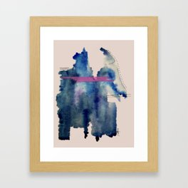Pour: a blue and purple abstract watercolor Framed Art Print